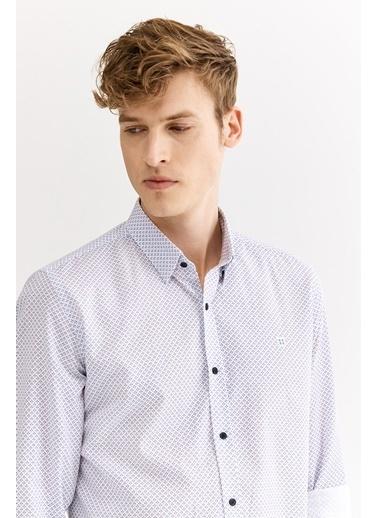 Avva Erkek  Baskılı Alttan Britli Gömlek A01S2245 Beyaz
